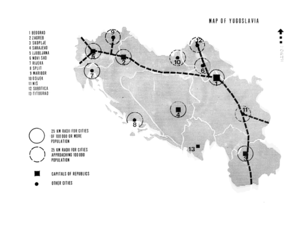 "Map of Yugoslavia from: Draft for review - ""Spatial Policies for Regional Development, Final Report,"" 1970, p. 27, Reel 2924, Grants U-Z 06800493, FA 7321, Ford Foundation records, Rockefeller Archive Center."